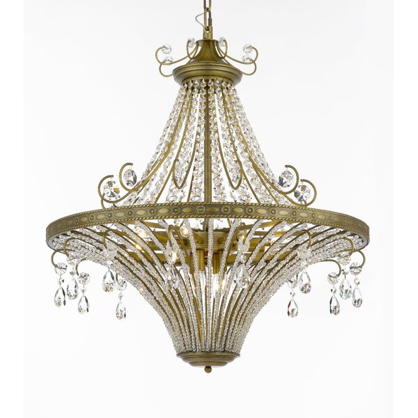 Burchfield 12 - Light Candle Style Wagon Wheel Chandelier with Crystal Accents by Astoria Grand Astoria Grand