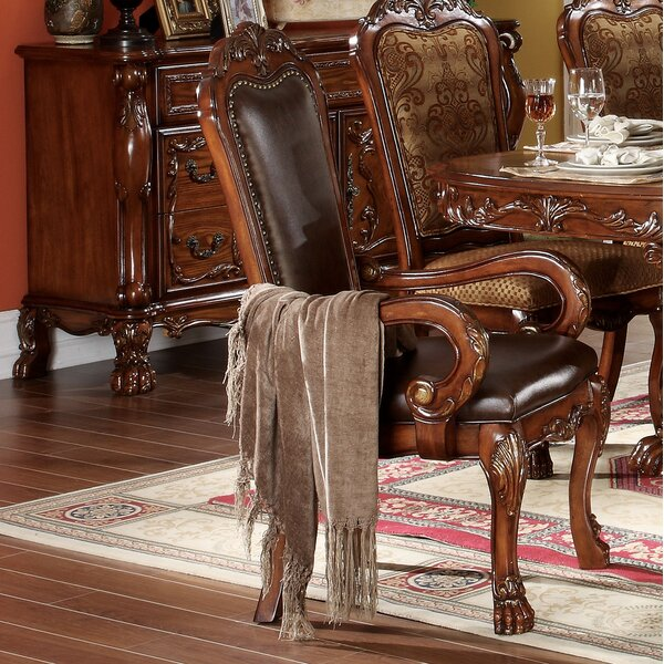 Welliver Carved Upholstered Dining Armchair (Set of 2) by Astoria Grand