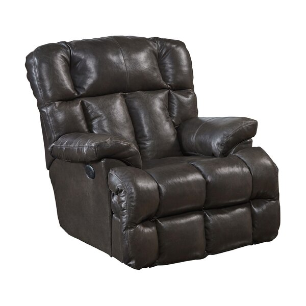 Lowndes Lay Flat Leather Power Recliner Red Barrel Studio W001960735