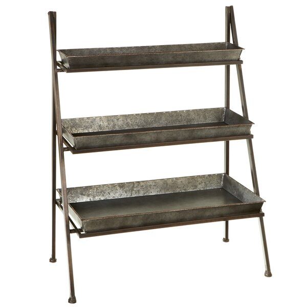 Elsworth 3 Tiered Folding Etagere Bookcase by Gracie Oaks