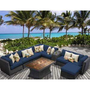 Venice Outdoor Wicker Patio 10 Piece Fire Pit Seating Group With Cushion