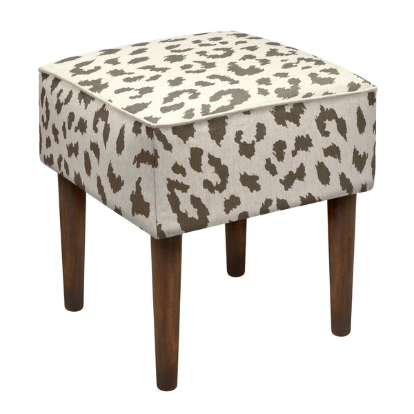 Tyre Cheetah Linen Upholstered Vanity Stool by Bloomsbury Market