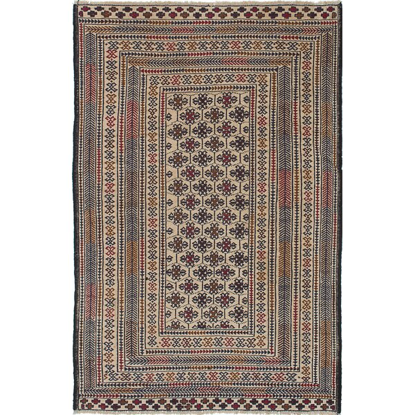 Schacht Hand-Woven Blue/Cream Area Rug by World Menagerie