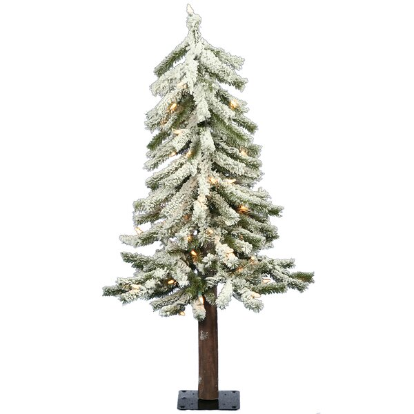 Flocked Alpine 24 Artificial Christmas Tree with Clear Lights by The Holiday Aisle