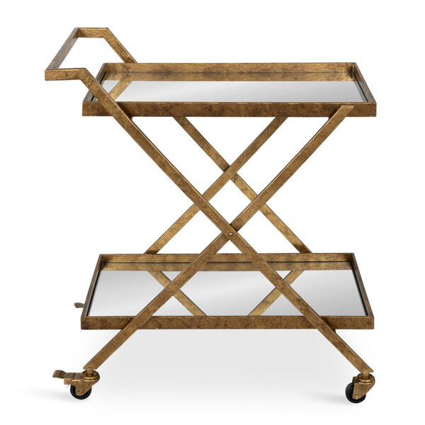 Curran 2-Shelf Metal And Mirror Tray Bar Cart By Rosdorf Park