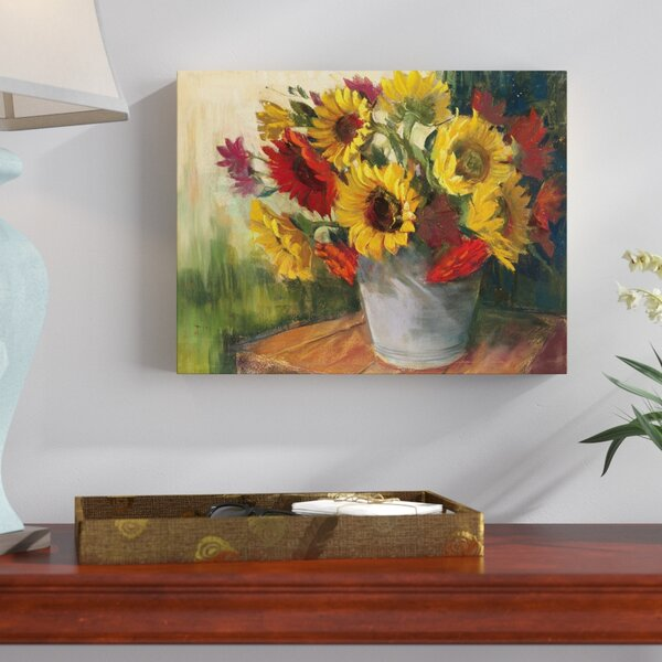 September Sunflowers Painting Print on Wrapped Canvas by Three Posts