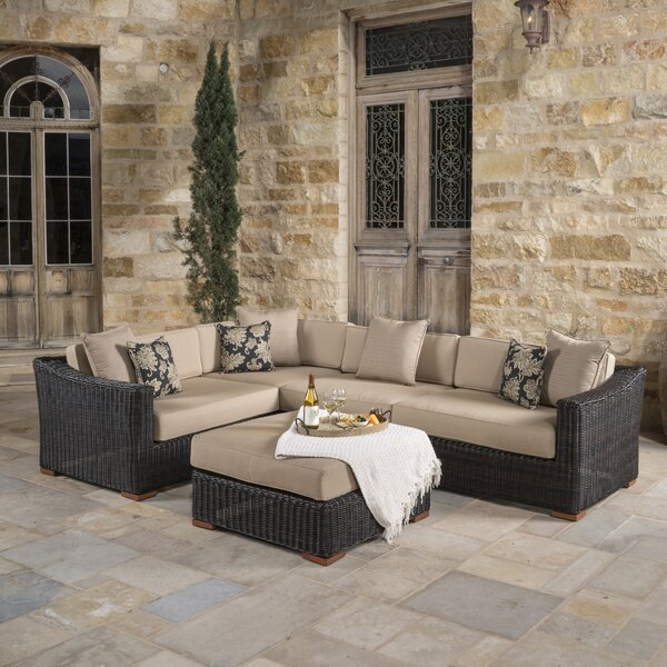 Monroeville 5 piece Rattan Sunbrella Sectional Seating Group with Cushions by Darby Home Co