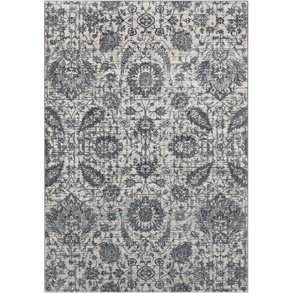 Lillo Floral Gray Area Rug by Bungalow Rose