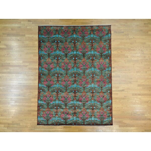One-of-a-Kind Braydon Handwoven Green Wool Area Rug by Isabelline