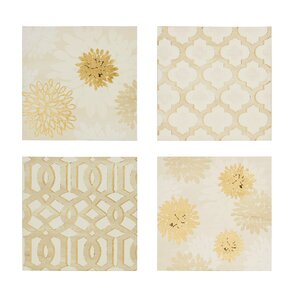 'Gilded Grandeur' 4 Piece Graphic Art Print Set on Wrapped Canvas by Willa Arlo Interiors