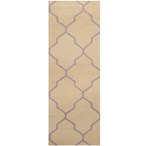 Hand-Tufted Ivory/Light Purple Area Rug by Herat Oriental