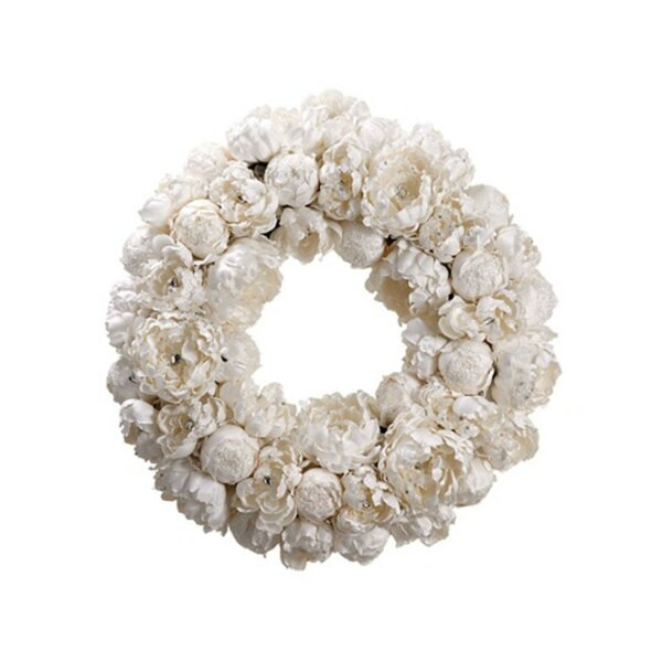 Diamond Peony Artificial Floral Christmas Wreath by Tori Home