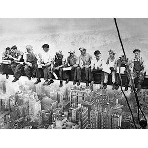 'Men on Steel Beam Lunchtime Atop NYC' by John C Ebbets Framed Photographic Print on Canvas by Buy Art For Less