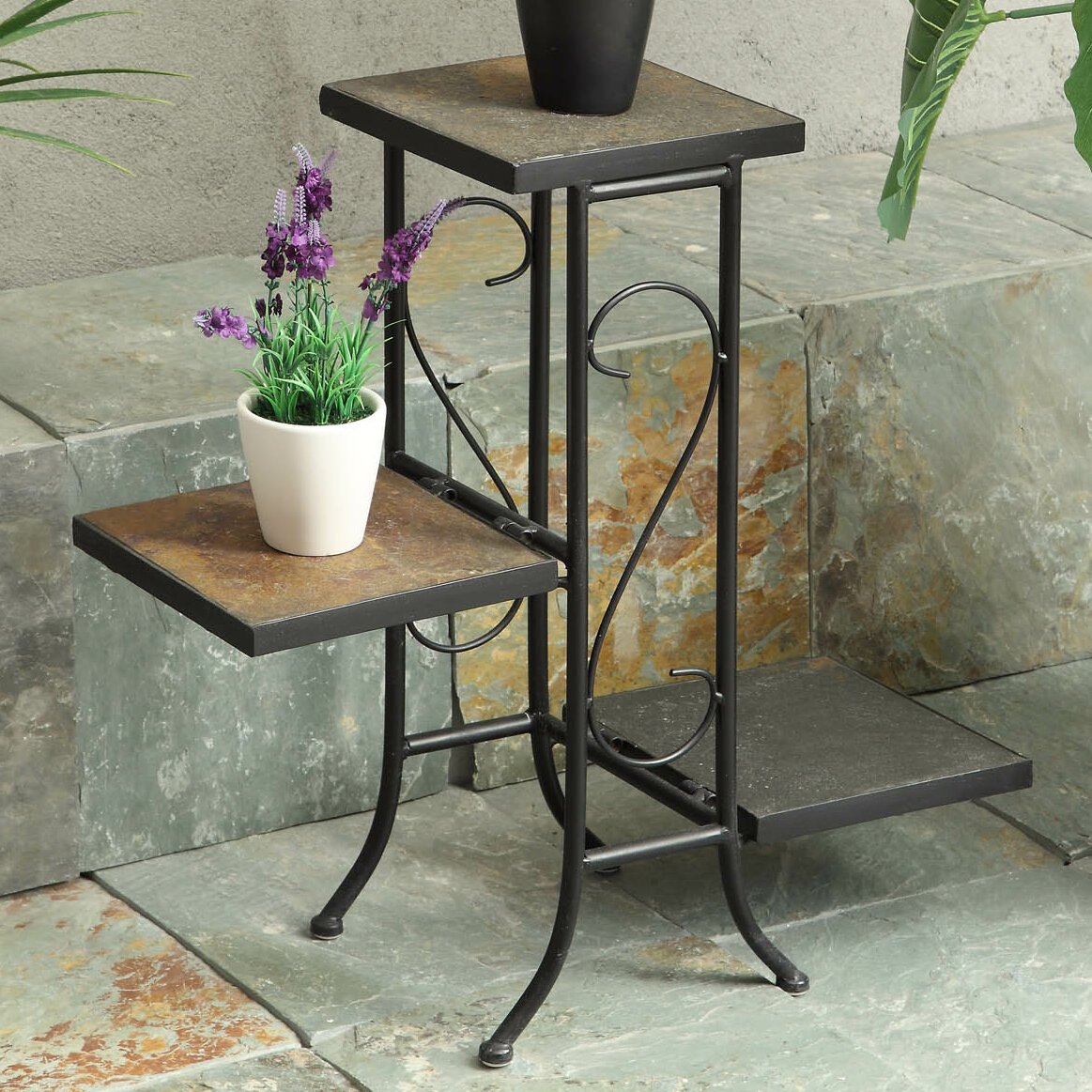 - Triangular Wooden Pot Plant Stand Alone For Indoors In Many Colors