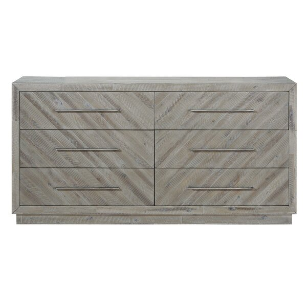 Coonrod Herringbone Front Wooden 6 Drawer Double Dresser by Foundry Select