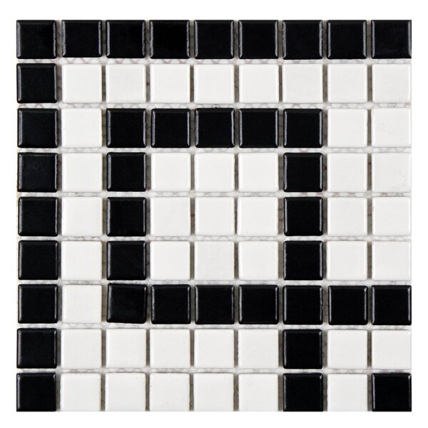Retro Greek Key 0.81 x 0.81 Porcelain Mosaic Tile in Matte White/Black by EliteTile