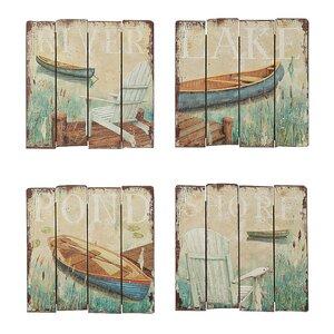Waterside by Daphne Brissonnet 4 Piece Painting Print Plaque Set by Creative Co-Op