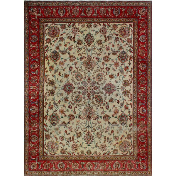 One-of-a-Kind Alvares Distressed Hand-Knotted Wool Ivory Area Rug by Isabelline