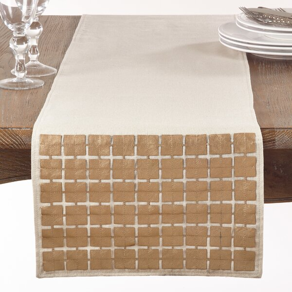 Mcbee Cutwork Metallic Square Design Table Runner by Gracie Oaks