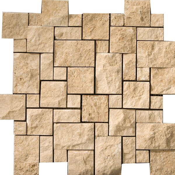 Travertine 12 x 12 Splitface Versailles Mosaic Tile in Beige by Emser Tile