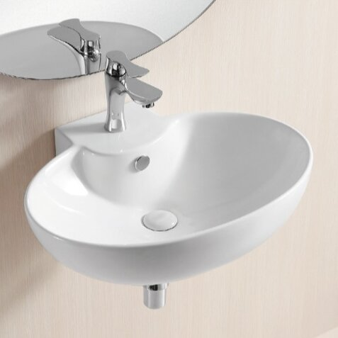 Ceramic 24 Wall Mount Bathroom Sink with Overflow by Caracalla