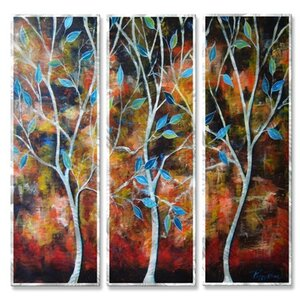 'Trees in the Breesze' by Peggy Davis 3 Piece Painting Print Plaque Set by All My Walls