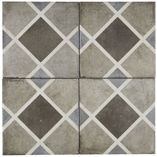 Encausto Hand Made Encaustic Look 8X8 Cool Blend Deco Tile in Rombo by Itona Tile