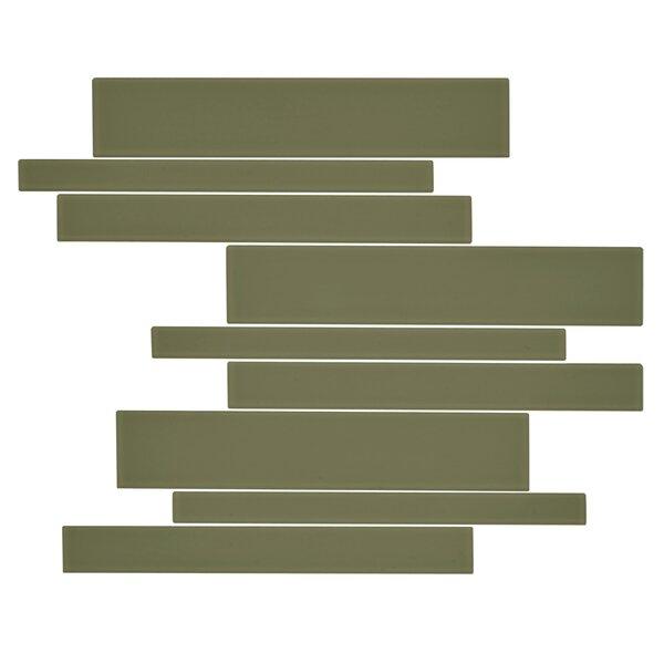 Linear Glass Random Sized Mosaic Tile in Tortuga Green by Kellani