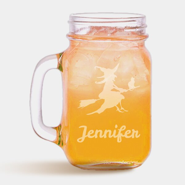 Personalized Halloween Broomstick Witch 16 oz. Mason Jar by Monogramonline Inc.