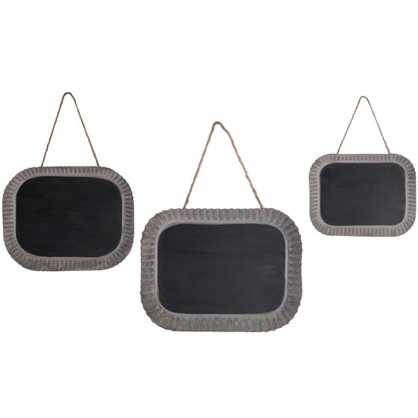 3 Piece Tins Wall Mounted Chalkboard Set by Boston International