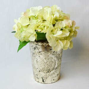 Fresh Cut Hydrangea in Vintage Mercury Glass