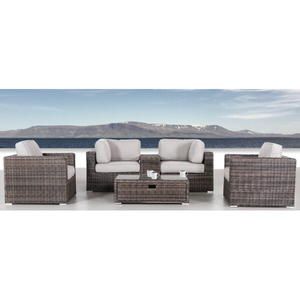 Nolen 6 Piece Rattan Sectional Set with Cushions by Latitude Run