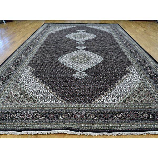 One-of-a-Kind Berinhard Mahi Handwoven Black Wool/Silk Area Rug by Isabelline