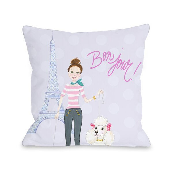 Bonjour Eiffel Tower Poodle Throw Pillow by One Bella Casa