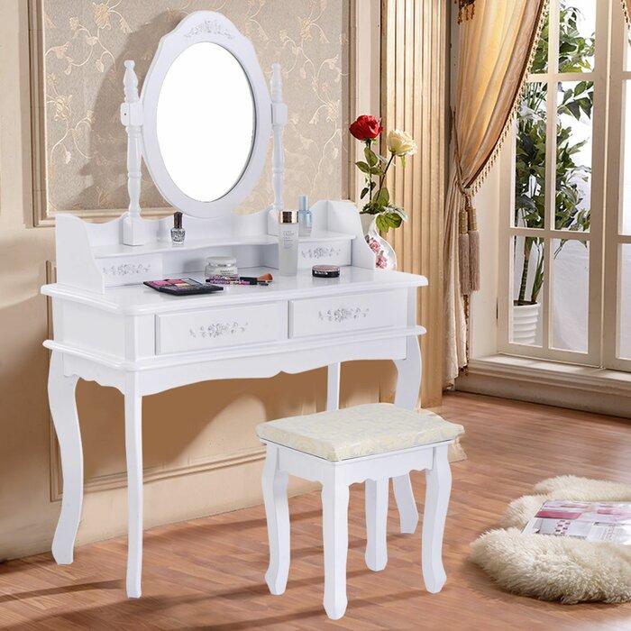 Costway White Vanity Makeup Dressing Table Set Mirror Jewellery Storage  W/Stool \u00264 Drawer