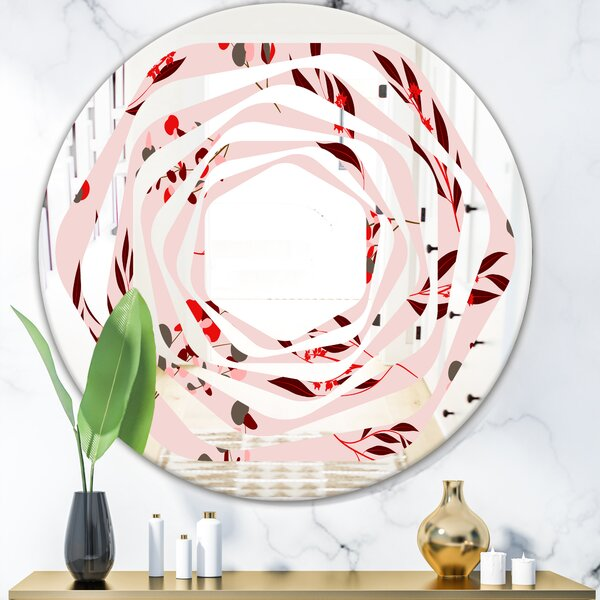 Whirl Bright Eucalyptus Floral Pattern II Cottage Americana Frameless Wall Mirror
