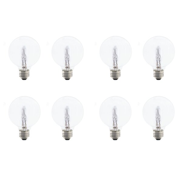 43W E26 Dimmable Halogen Globe Light Bulb (Set of 8) by Bulbrite Industries