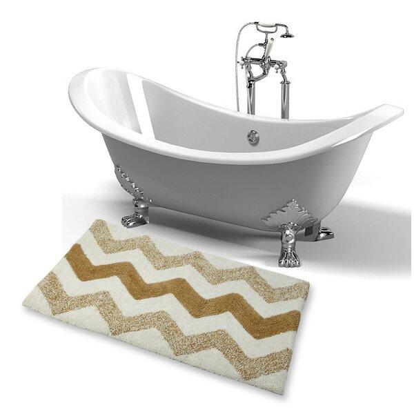 Erickson Tonal Designer Rectangle Non-Slip Chevron Bath Rug