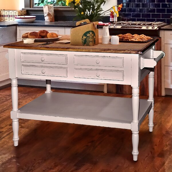 Modern Brookstonval Kitchen Island With Wood Top By Darby Home Co Spacial Price