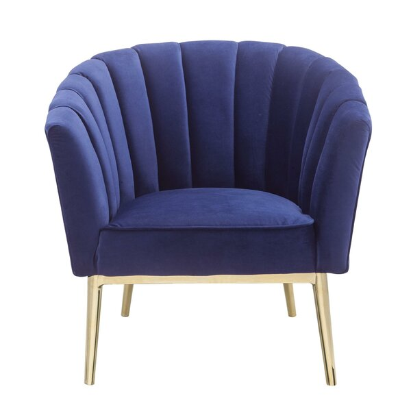 Jasiah Metal and Fabric Armchair by Everly Quinn