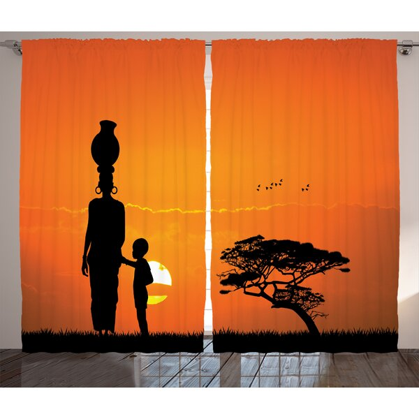 Veendam Afro Graphic Print and Text Semi-Sheer Rod Pocket Curtain Panels (Set of 2) by World Menagerie