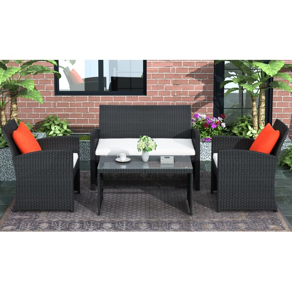 Bathgate 4 Piece Rattan Sofa Seating Group with Cushions by Latitude Run