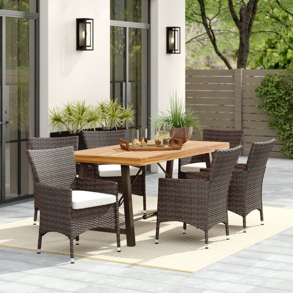 Tiggs 7 Piece Dining Set with Cushions