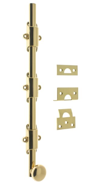 Solid Brass 18 Heavy Duty Surface Bolt with Round knob by idh by St. Simons