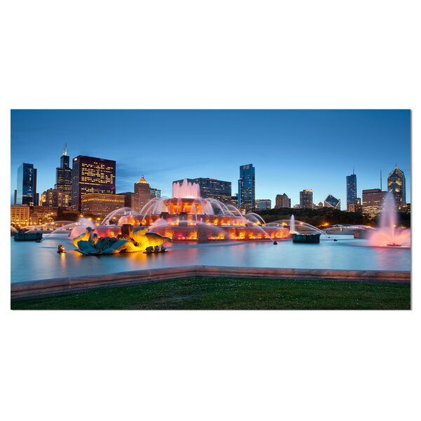 Colorful Buckingham Fountain Cityscape Photographic Print on Wrapped Canvas by Design Art