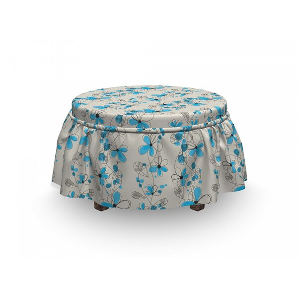 Childish Daisies 2 Piece Box Cushion Ottoman Slipcover Set By East Urban Home