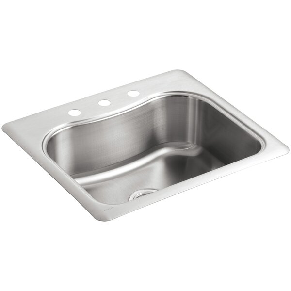 Staccato 25 L x 22 W x 8-5/16 Top-Mount Single-Bowl Kitchen Sink with 3 Faucet Holes by Kohler