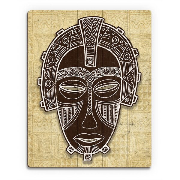 African Mask Crown  - Tan Graphic Art on Plaque by Click Wall Art