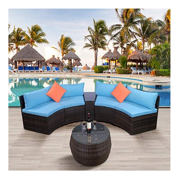 Alisee 6 Piece Rattan Sectional Seating Group with Cushions by Latitude Run