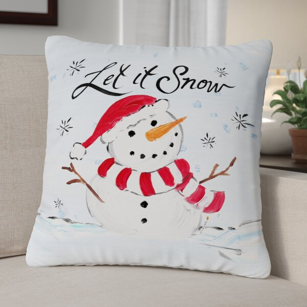 Let It Snow Snowman Throw Pillow by The Holiday Aisle